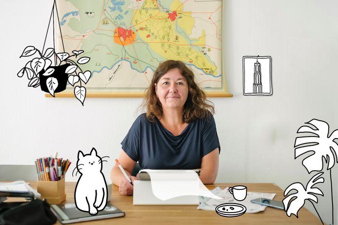 Corine Matser: ,,Ik maak de tekeningen met veel plezier, maar ik heb liever dat er geen persconferenties nodig zijn.''