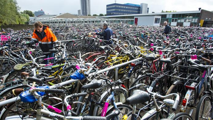 Fietsen bij het gemeentelijk fietspunt Prins Alexander in Rotterdam