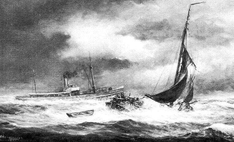 De Hoop vergaat bij Lemmer in 1909 Beeld .