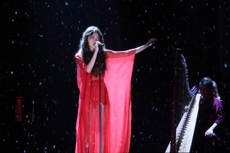 Olivia Rodrigo tijdens de Brit Awards 2021 in Greenwich, begin mei.  Beeld EPA