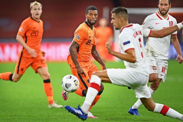 Georginio Wijnaldum in actie tijdens Nederland  - Polen, begin september in Amsterdam. Beeld Guus Dubbelman / de Volkskrant