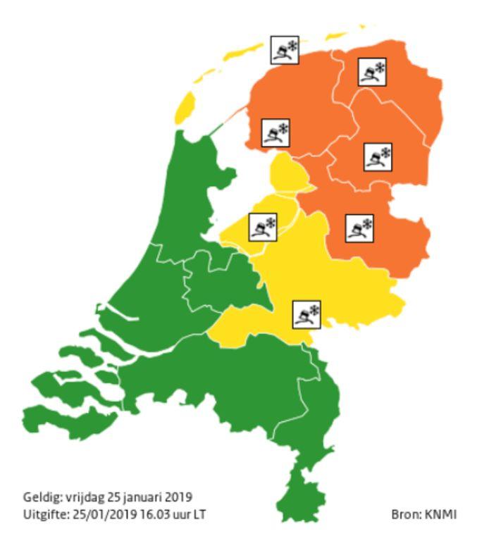 Het KNMI geeft code oranje af voor het oosten en noordoosten van het land.
