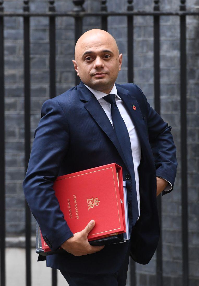 De Britse minister van Binnenlandse Zaken Sajid Javid. Beeld EPA