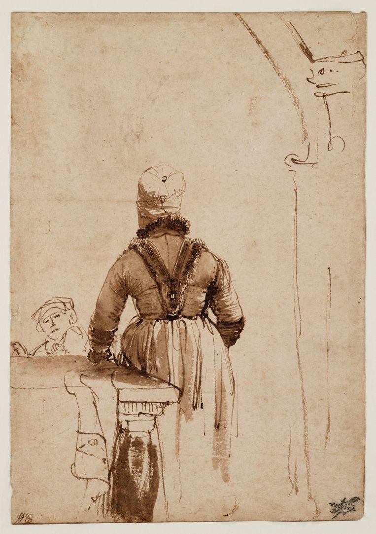 Een vrouw in Noord-Hollands kostuum, op de rug gezien, misschien Geertje Dircx, 1636-1638, een tekening van Rembrandt.  Beeld Teylers Museum Haarlem