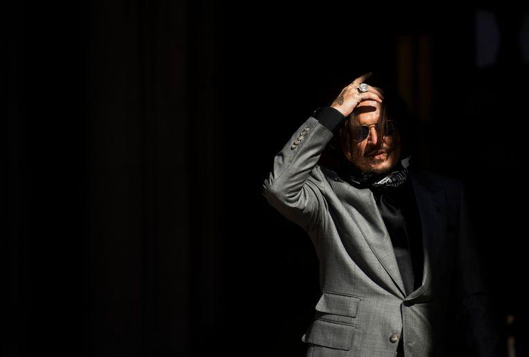 Johnny Depp bij de rechtbank in Londen in juli. Beeld EPA