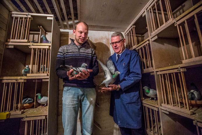 Frank Jacobs (L) en Hein van den Berg in het duivenhok.