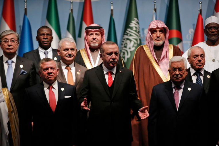 Een groepsfoto met alle deelnemers van het spoeddebat, vooraan Erdogan Beeld ap