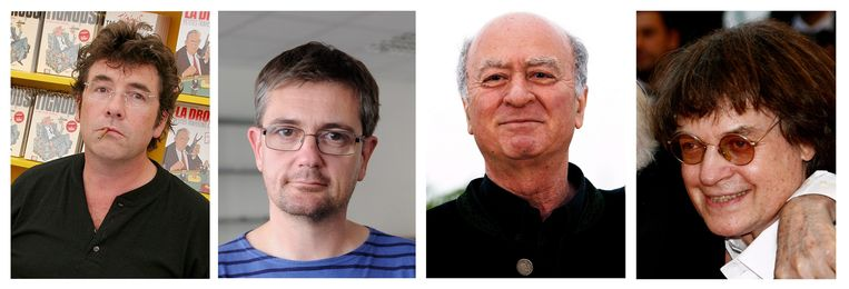 V.l.n.r.: Tignous, Charb, Wolinski en Cabu. Beeld EPA