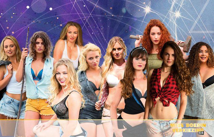 De tien kandidaten voor de Miss Boerin Verkiezing 2018 in Bathmen, van links naar rechts Lisa, Irene, Martine, Margriet, Daniëlle, Anouk, Anne-Wil, Julia, Kitty en Roxanne.