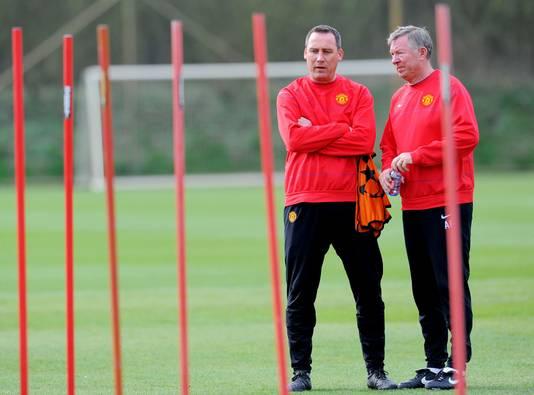 René Meulensteen (links) op het trainingsveld met Sir Alex Ferguson, in zijn tijd als assistent van de Engelse grootmacht Manchester United.
