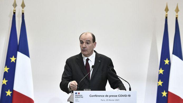 De Franse premier Jean Castex spreekt tijdens een persconferentie over de huidige strategie van de regering voor de aanhoudende Covid-19 pandemie in Parijs.