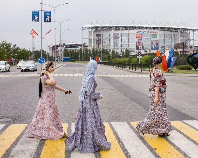 De Akhmat-Arena in Grozny waar de Egyptische ploeg traint tijdens de WK.  Beeld Emile Ducke