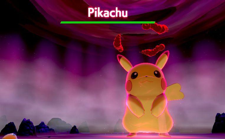 Een grote Dynamax Pikachu