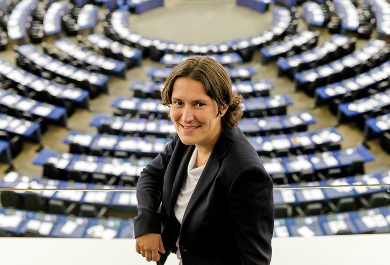 Kati Piri van de PvdA in de plenaire zaal van het Europees Parlement in Straatsburg (2014).  Beeld ANP