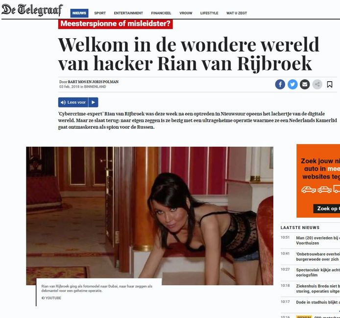 Van Rian van Rijbroek in stoeipoespose verschenen foto's op internet. De Telegraaf gebruikte ze voor haar website en krant.