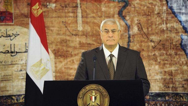 Waarnemend president Adly Mansour van Egypte (archieffoto). Beeld reuters