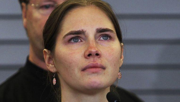 Amanda Knox na aankomst in Washington in 2011. Ze is op dit moment net vrijgelaten na vier jaar in de gevangenis te hebben gezeten. Beeld reuters