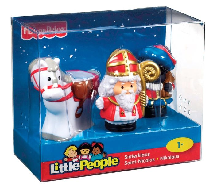 Het sinterklaas-setje van Little People dat uit de handel is genomen door Fisher Price.