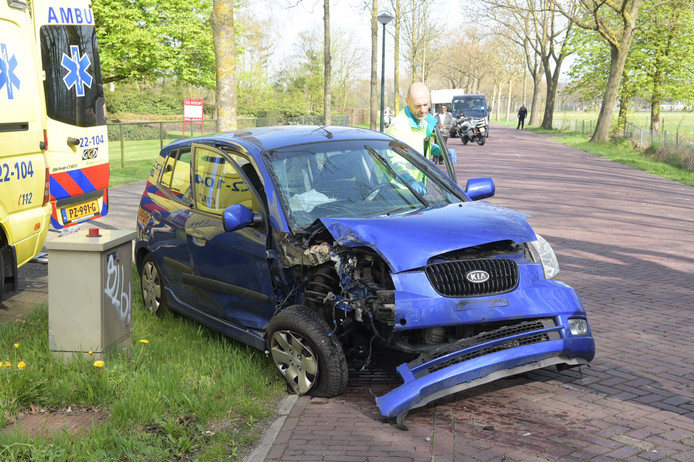 De auto kwam tot stilstand tegen een boom.