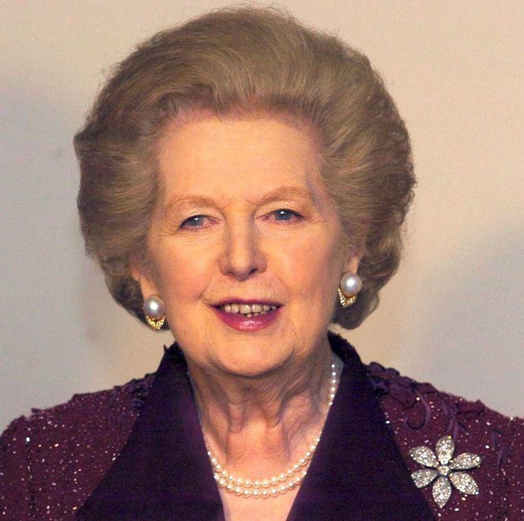 Margaret Thatcher bij het diner ter gelegenheid van de 25ste verjaardag van haar verkiezing tot premier, in 2004. Beeld epa
