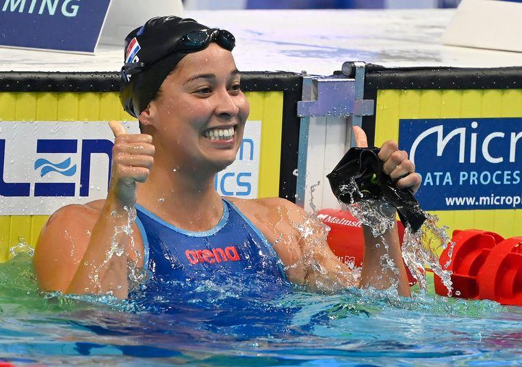 Ranomi Kromowidjojo na haar winnende race. Beeld EPA