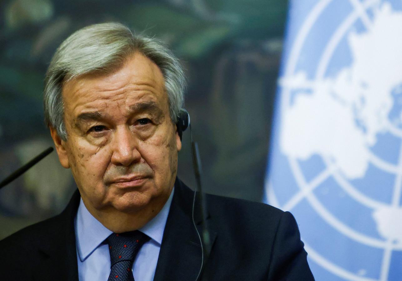 Antonio Guterres lors d'une conférence de presse à Moscou en mai dernier.