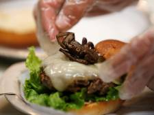 Amerikaans restaurant verkoopt burger met vogelspin