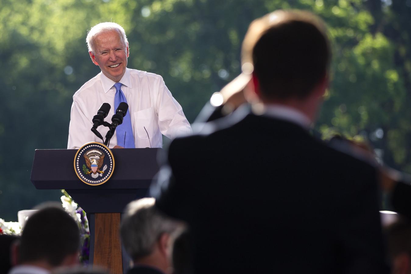 Le président américain Joe Biden répondant aux questions des journalistes lors d'une conférence de presse après le sommet États-Unis-Russie à Genève, en Suisse, le 16 juin 2021.