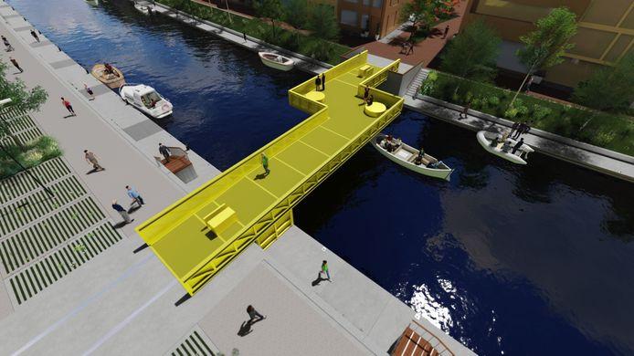 De felgele brug moet halverwege de Jan Vermeerlaan en de Wethouder Lanenstraat zorgen voor een extra oversteek over de Vliet.