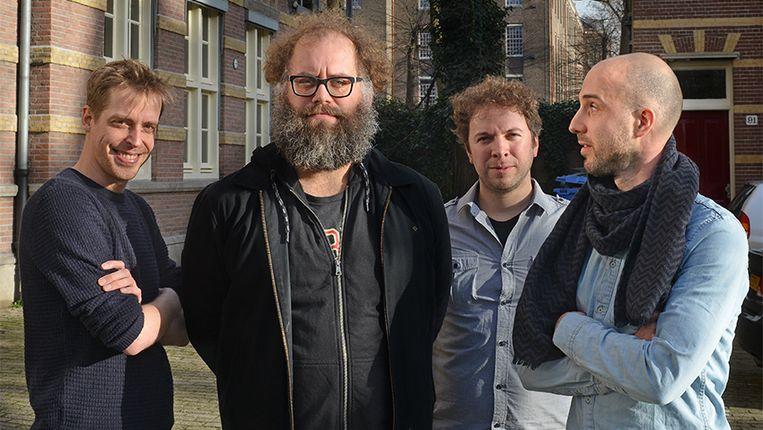 Joost Vandecasteele (tweede van links) met de mannen van gamestudio Happy Volcano. Beeld H.van Herk
