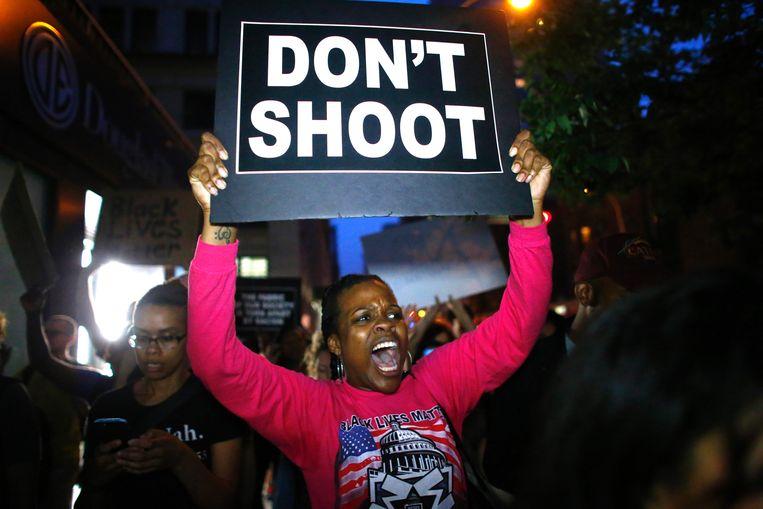 Archiefbeeld uit juli 2016: 'black lives matter'-protesten in de VS. Beeld AFP
