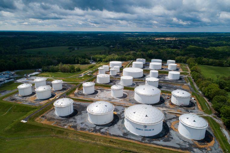 Brandstofopslag van Colonial Pipeline in Maryland.  Beeld EPA