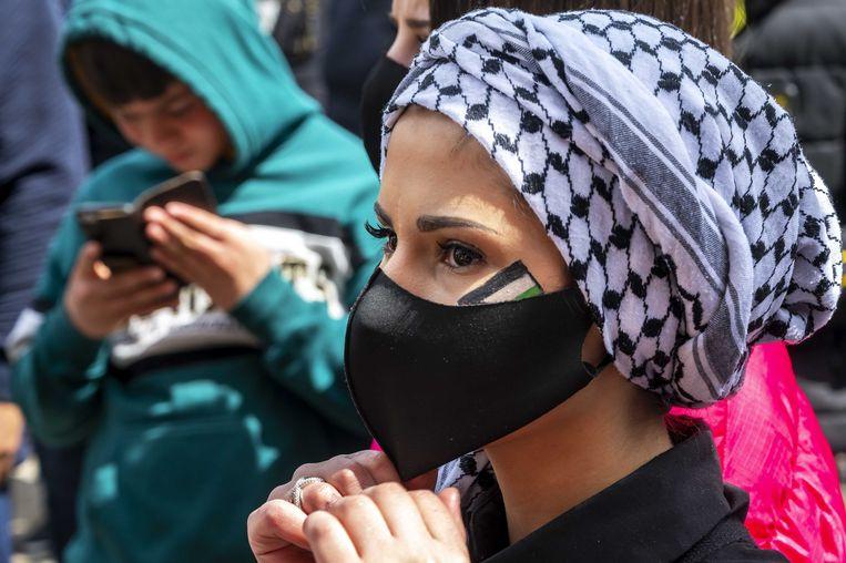 In verschillende binnensteden, waaronder Amsterdam, toonden betogers zich dit weekend solidair met de Palestijnen. Beeld ANP