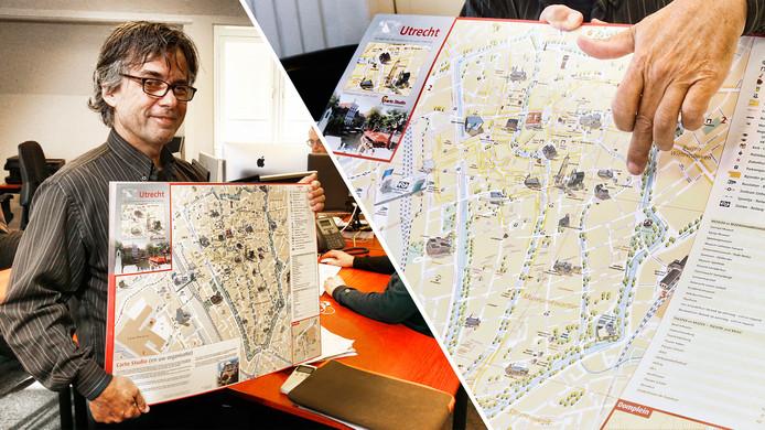 Cartograaf Paul Benjaminse met de kaart van Utrecht