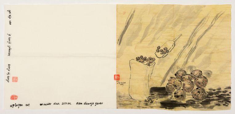 Sayings of Picked-Up (Best Oliebollen from Rotterdam), No. 3, 2020, inkt en aquarel op rijstpapier, 45 × 96 cm. Beeld Evelyn Taocheng