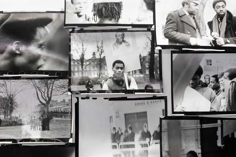 Nieuw werk met oude zwart-witfoto's van Isaac Julien. Hij eert hiermee Colin Roach, die in 1983 omkwam door politiegeweld. Beeld Isaac Julien/Galerie Ron Mandos