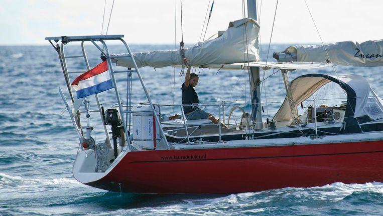 Laura Dekker op haar boot Beeld reuters