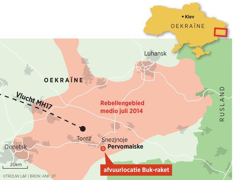 Onderzoekers van het Nederlandse Lucht- en Ruimtevaartcentrum (NLR) en de Belgische Koninklijke Militaire School (RMA) stellen dat de Buk-raket is afgevuurd op een akker nabij Pervomaiske. Beeld Louman & Friso