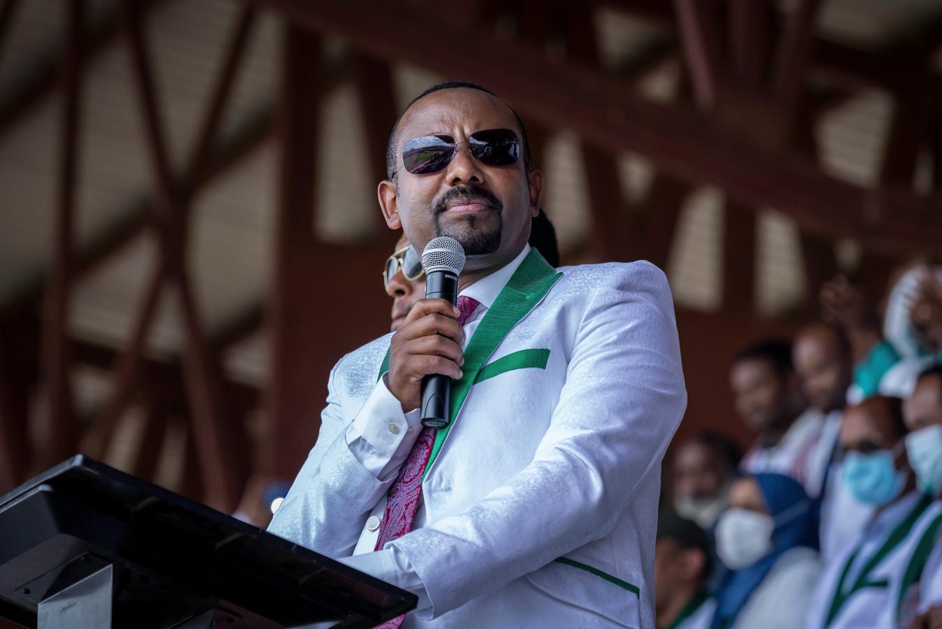 Premier Abiy Ahmed vorige week woensdag bij een campagnebijeenkomst in de stad Jimma.