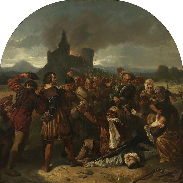 Een scene uit de Duitse Boerenoorlog (Deutscher Bauernkrieg), die duurde van 1524 tot 1525, in een schilderij van Hermann Eichler. Beeld Hermann Eichler