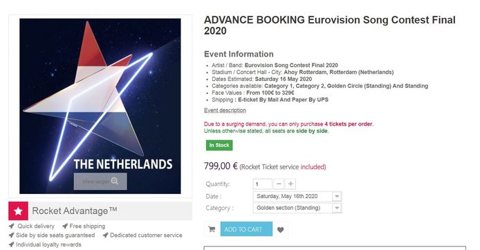 Het platform Rocket Ticket biedt vijf verschillende soorten kaarten aan voor de finale op 16 mei in sport- en evenemententempel Ahoy, met prijzen tot wel 799 euro.