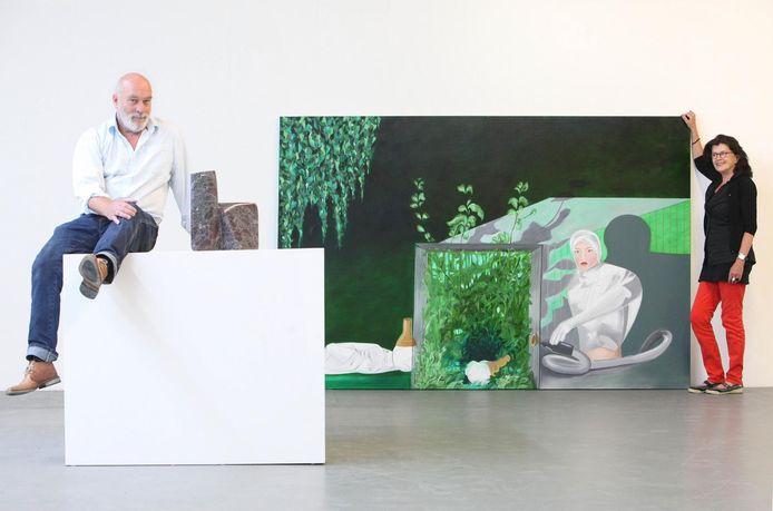 Archieffoto± Robert Verhaaf en Petra Wiek bij kunstwerken