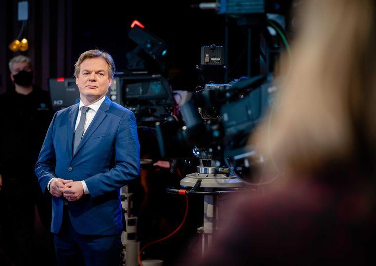Pieter Omtzigt tijdens een debat voor de Tweede Kamerverkiezingen in Den Haag in februari.  Beeld ANP