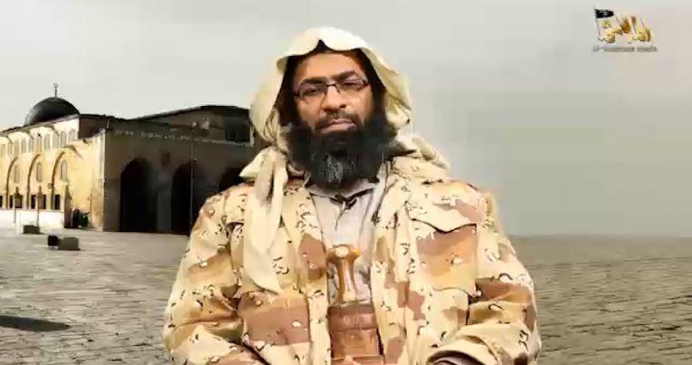 Khalid Batarfi in een video van Al Qaeda in januari 2018 Beeld Al-Malahem
