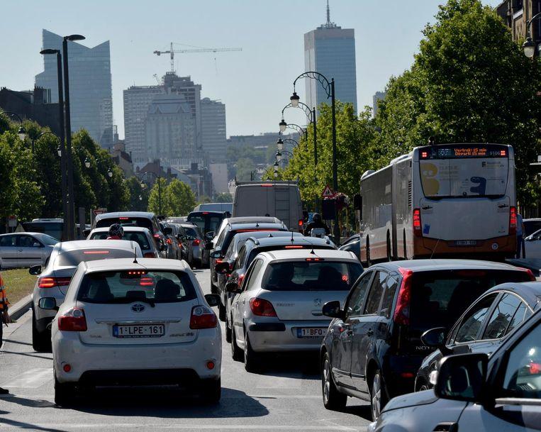 Verkeersdrukte in Brussel.  Beeld Photo News