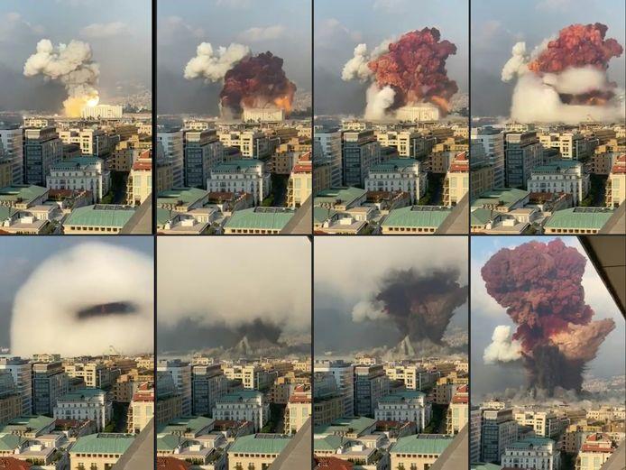 Een collage van de ontploffing in Beiroet.