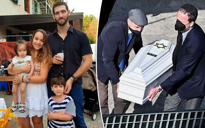 Eitan (rechts onderaan) met zijn ouders en broertje Tom. Rechts het witte kistje van Tom.