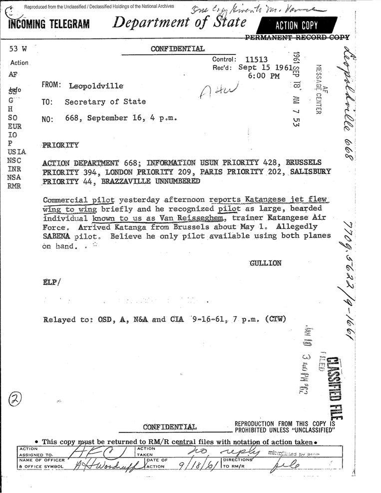 Telegram van VS-ambassadeur Gullion over de betrokkenheid Van Risseghem. Beeld RV