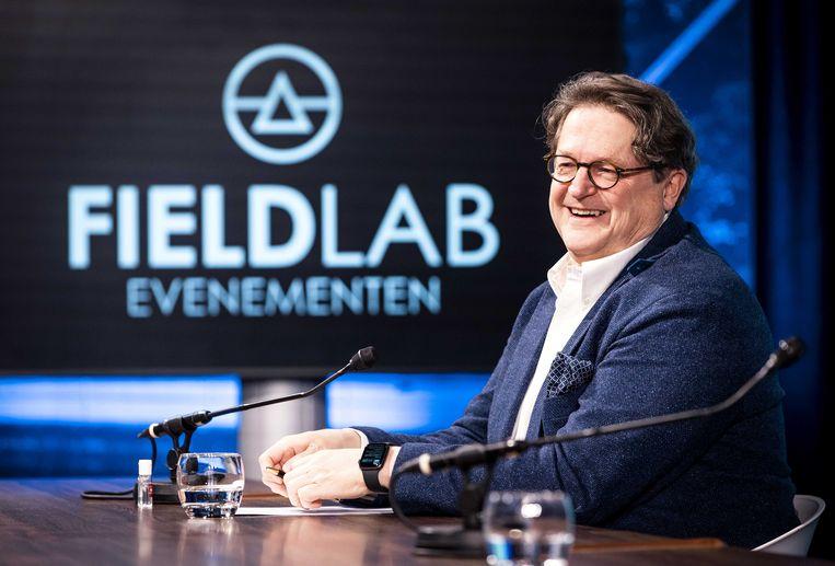 Andreas Voss (hoofdonderzoeker, Radboudumc) tijdens een perspresentatie van Fieldlab Evenementen.  Beeld ANP