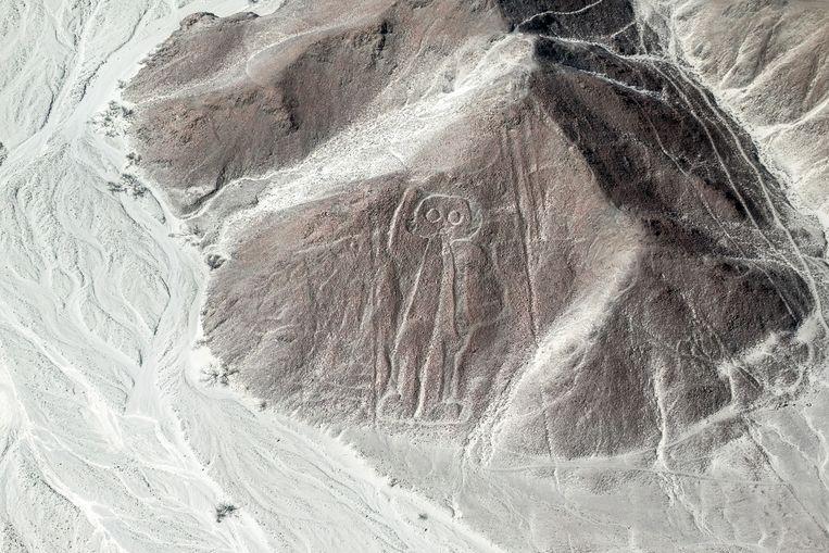 Nazcalijnen vanuit de lucht bekeken. Beeld Getty Images